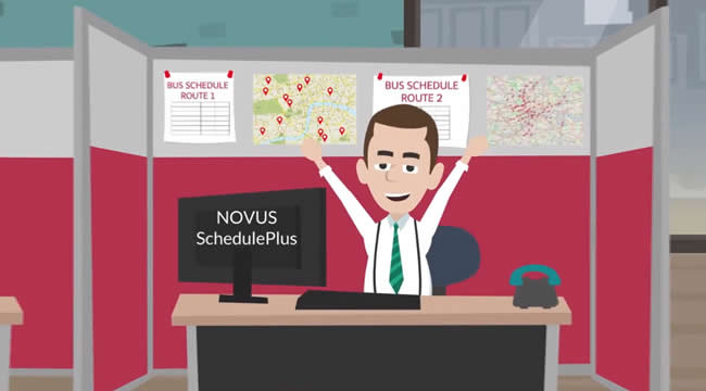 Still from Novus-SchedulePlus integrates with Future Bus video
